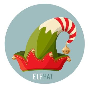 Jasny kapelusz elfa z małymi złotymi dzwonami