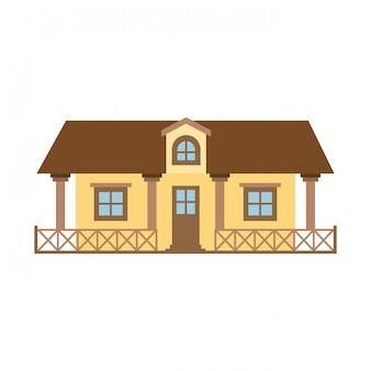 Jasny kolor sylwetki wiejskiego domu z poręczą i poddaszem