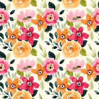 Jasny kolorowy kwiatowy wzór akwarela