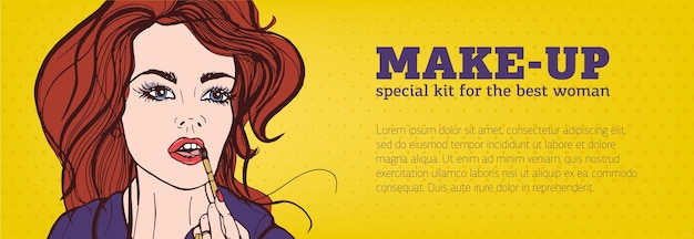 Jasny kolorowy poziomy baner z kobietą, nakładanie makijażu na twarz ręcznie rysowane w stylu pop-art i miejsce na tekst. ilustracja wektorowa na reklamę kosmetyków lub promo usługi wizażysty.
