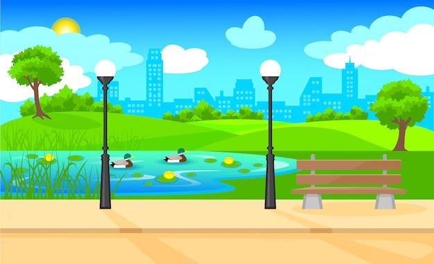 Jasny krajobraz parku miejskiego