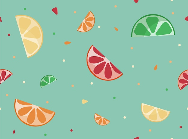 Jasny letni wzór z cytrusowymi plasterkami cytryny, grejpfruta i pomarańczy