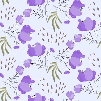 Jasny letni wzór z fioletowymi kwiatami maku