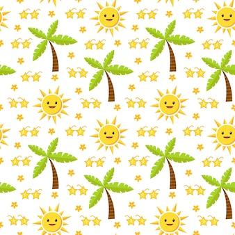 Jasny letni wzór z kreskówkową postacią słońca i palmami