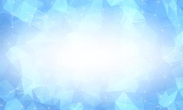 Jasny niebieski low poly tło. wielokątny wzór projektowy. jasna mozaika nowoczesny geometryczny wzór, kreatywne szablony projektowe. połączone linie z kropkami.