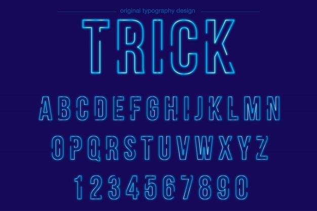 Jasny niebieski neon typografii