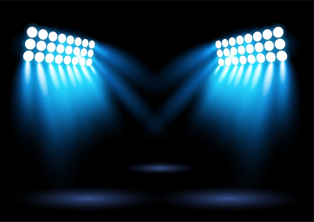 Jasny niebieski reflektor oświetlenia areny stadionu