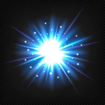 Jasny niebieski wybuch gwiazdy.