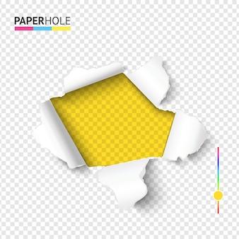 Jasny odrywany papierowy baner z otworem z podartymi kawałkami kartonu
