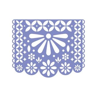 Jasny papel picado z wyciętymi kwiatami i geometrycznymi kształtami