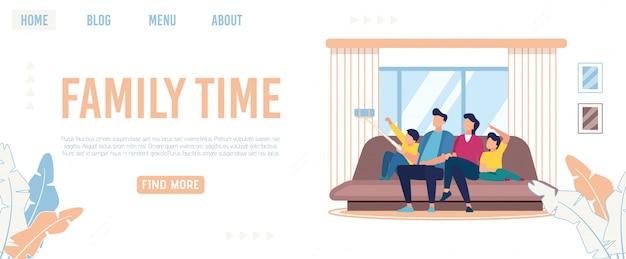 Jasny plakat napisany czas rodziny, kreskówka mieszkanie.