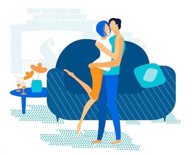 Jasny plakat przytula para zakochanych kreskówka mieszkanie