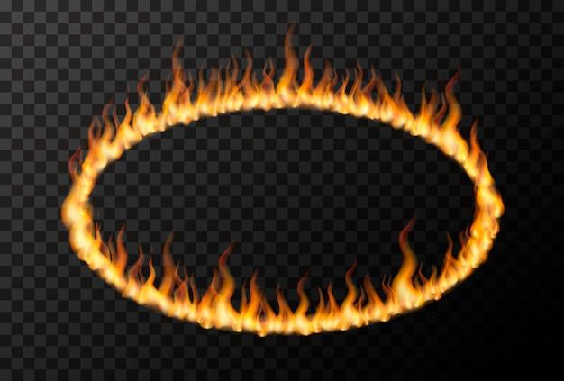Jasny płomień ognia w kształcie elipsy na przezroczystym