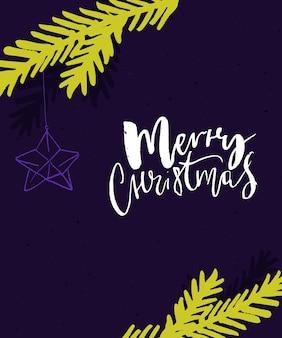 Jasny projekt kartki z życzeniami wesołych świąt fioletowe i neonowe zielone kolory z ręcznie robionym napisem