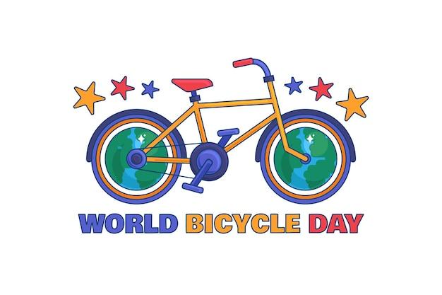 Jasny rower jako ilustracja pozdrowienie dzień ekologicznego transportu z tekstem, nasza planeta ziemia i stylowy cykl. transparent wektor wydarzenia 3 czerwca