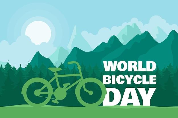 Jasny rower jako ilustracja pozdrowienie dzień transportu ekologicznego z tekstem, leśną drogą i stylowym cyklem. transparent wektor wydarzenia 3 czerwca