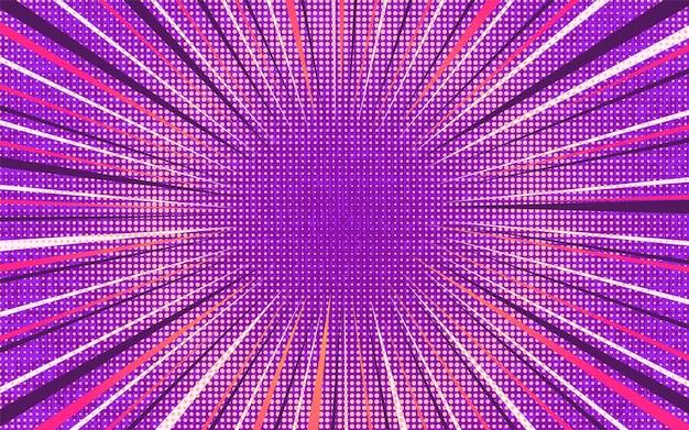 Jasny różowy i fioletowy eksplodujący retro komiks tło z zaokrąglonym cieniem półtonów