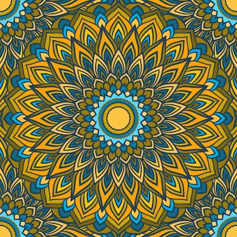 Jasny rysunek odręczny ozdobnych kwiatowy abstrakcyjne bezszwowe tło z wieloma szczegółami do projektowania jedwabnej apaszki lub drukowania na tekstyliach