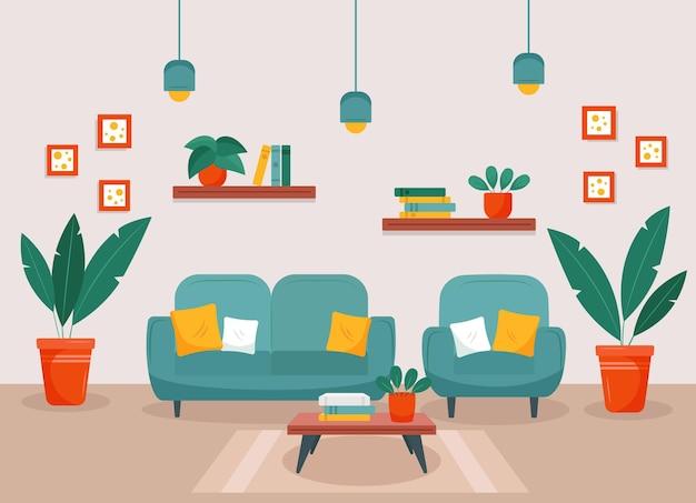 Jasny salon z kanapą, fotelem, półkami na książki i roślinami