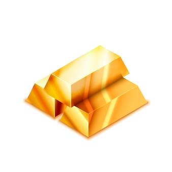 Jasny stos trzech realistyczne błyszczące złote paski w widoku izometrycznym na białym tle