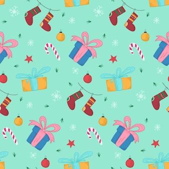Jasny świąteczny wzór z prezentami i pończochami