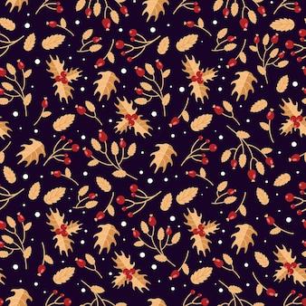Jasny świąteczny wzór zimowe jagody dzikiej róży ostrokrzew w czerwonych i fioletowych świątecznych kolorach