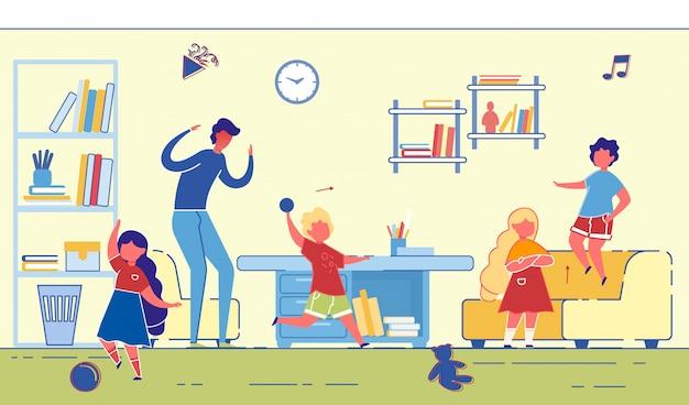 Jasny sztandar noisy zabawa dla dzieci w mieszkaniu.