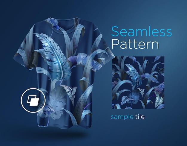 Jasny tropikalny wzór z roślinami dżungli. egzotyczny projekt koszulki z liśćmi palmowymi.