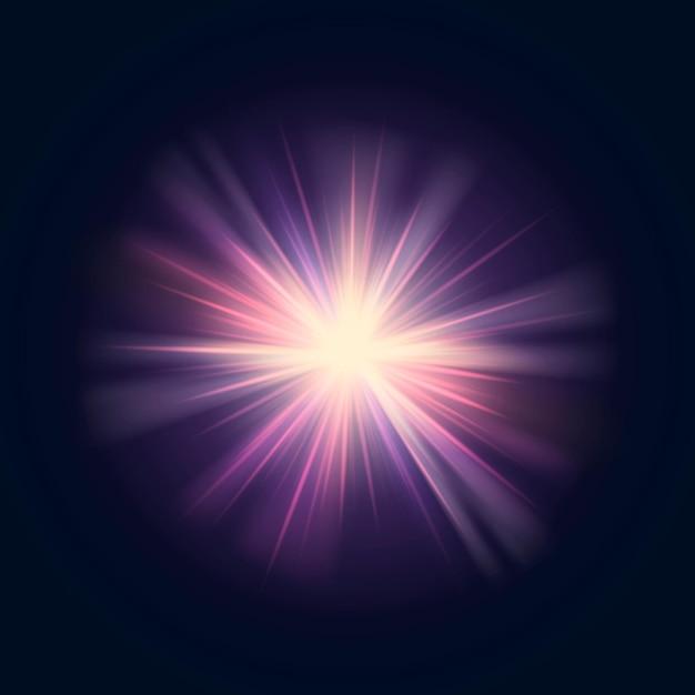 Jasny wektor flary soczewki sunburst w kolorze fioletowym i żółtym