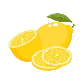 Jasny wektor zestaw kolorowych soczystej cytryny. cytryny świeże kreskówka na białym tle