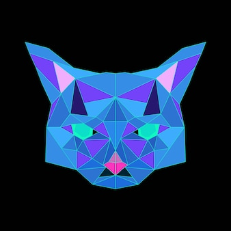 Jasny, wielokątny nadruk z logo głowy kota