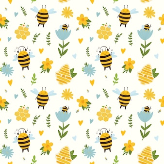 Jasny wzór na żółtym tle z pszczołami