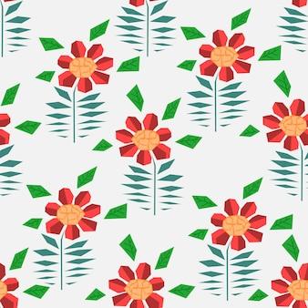 Jasny wzór z abstrakcyjnymi czerwonymi kwiatami gerbery