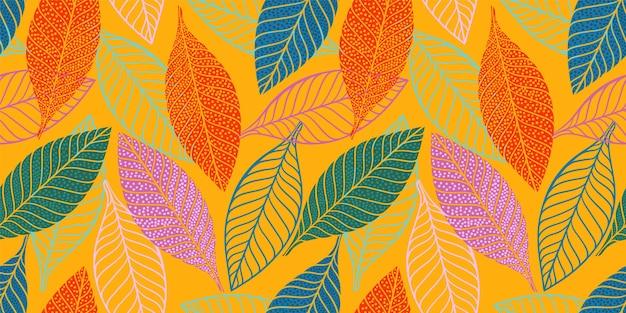Jasny zabawny wzór z abstrakcyjnymi liśćmi