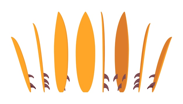 Jasny zestaw deski surfingowej, stojący w różnych pozycjach
