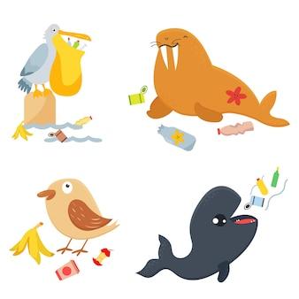 Jasny zestaw ekologiczny zatrzymaj zanieczyszczenia zabawnymi postaciami