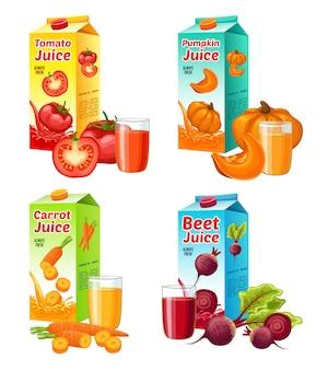 Jasny zestaw świeżych soków warzywnych