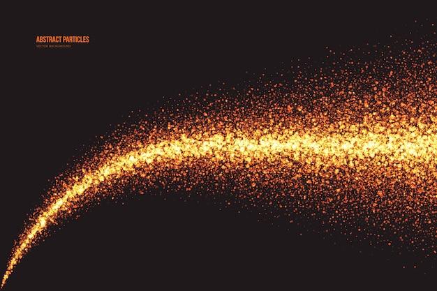 Jasny złoty shimmer świecące cząsteczki w abstrakcyjnym tle