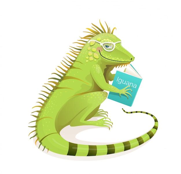 Jaszczurka iguana czytająca książkę, studiująca i edukacyjna postać z kreskówki. izolowane clipart zwierząt do szkoły i projektowania do nauki. realistyczna akwarela na białym tle clipart.