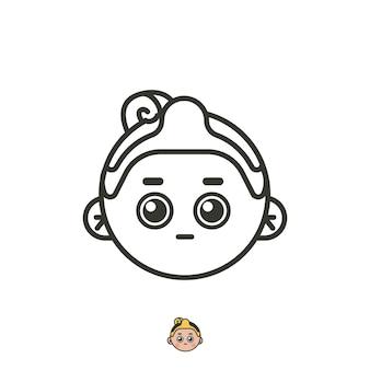 Jawajskie logo twarzy dla biznesu artystycznego. vintage śmieszne logo z twarzą człowieka