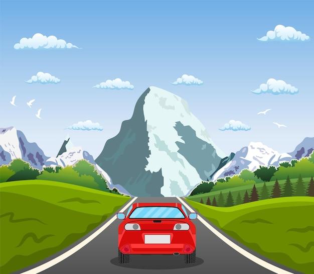Jazda autostradą z pięknym krajobrazem