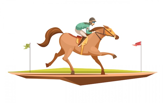 Jazda konna koncepcja projekt retro w stylu cartoon z dżokejem na galopujący koń płaski wektorowej