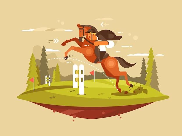 Jazda konna projekt płaski. koń i jeździec skaczący przez płotki. ilustracja wektorowa