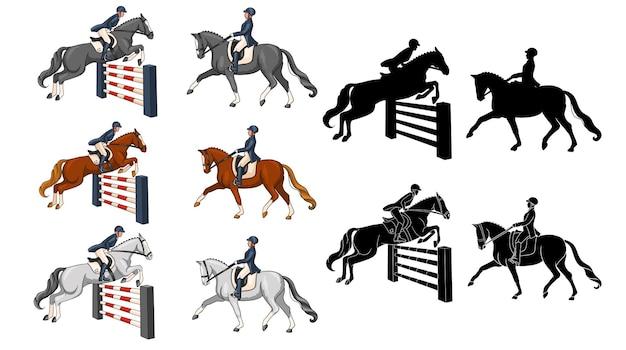 Jazda konna. ujeżdżenie i skoki przez przeszkody. zestaw. kobieta na koniu wykonuje element ujeżdżenia i przeskakuje przeszkodę. ilustracja wektorowa do książek, projektowanie logo, pocztówki.