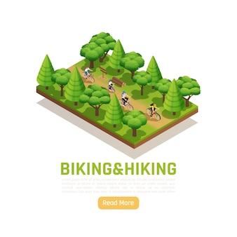 Jazda na rowerze i piesze wycieczki izometryczny krajobraz przyrody z rodziną na wiejskim spacerze w lesie