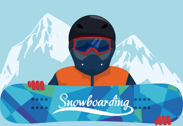 Jazda na snowboardzie projekt, wektorowa ilustracja.
