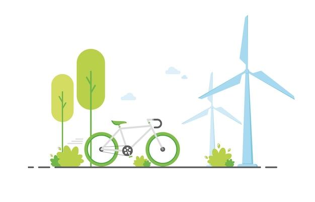 Jazda na zielonym rowerze w przyrodzie z wiatrakiem na tle w płaskiej konstrukcji