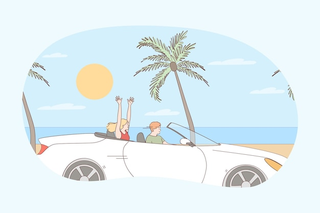 Jazda podczas koncepcji wakacji. młoda szczęśliwa para postaci z kreskówek siedzi w samochodzie i jedzie wzdłuż morza w lecie podczas podróży
