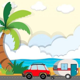 Jazda samochodem wzdłuż plaży
