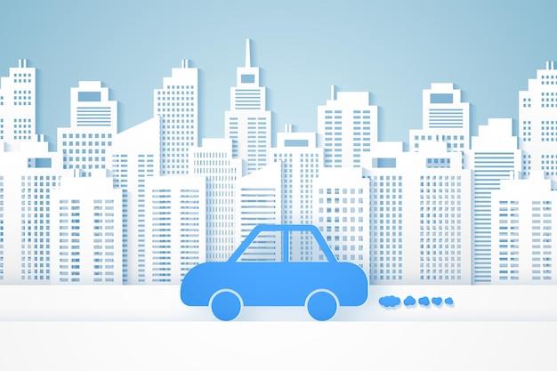 Jazda samochodem z pejzażem miejskim w stylu sztuki papieru